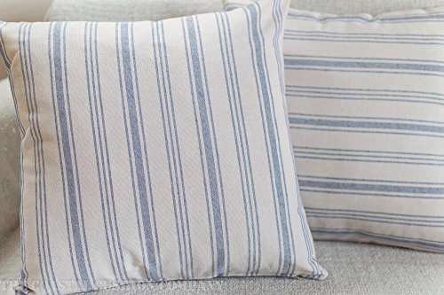 Contemporary Prep Style Cushion Cover. Blue nautical striped design on a linen background. 17' x 17' Square.