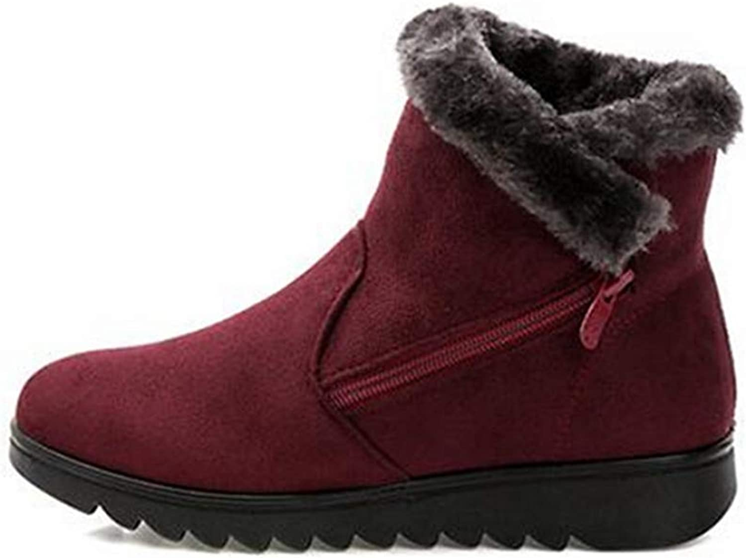 Fay Waters Womens Cute Warm Ankle Boots Platform Low Heel Round Toe Rubber Winter Snow Booties
