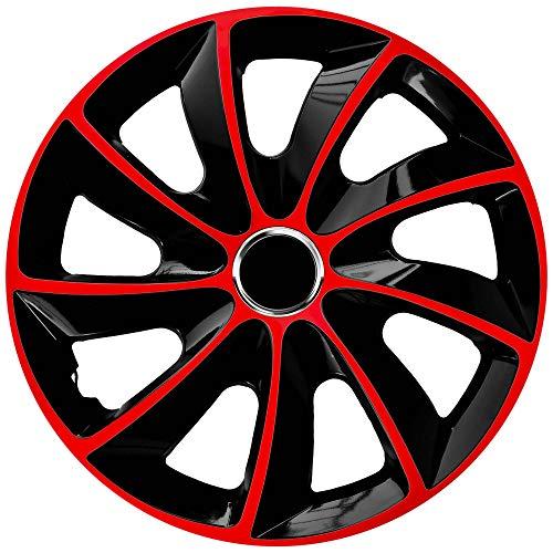 Radkappen 4er Set 17 Zoll schwarz rot Stig Extra NRM, Radzierblenden schwarz rot