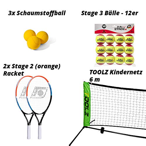 Topspin Tennis at Home Paket - Tennis-Netz 6m + 2X Stage 2 (orange) Tennisschläger, 12er Tennisbälle & 3 Schaumstoffbälle