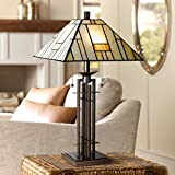 Tiffany Style Table Lamp Art Deco Wrought Iron Bronze Stained Glass for Living Room Family Bedroom Bedside - Franklin Iron Works