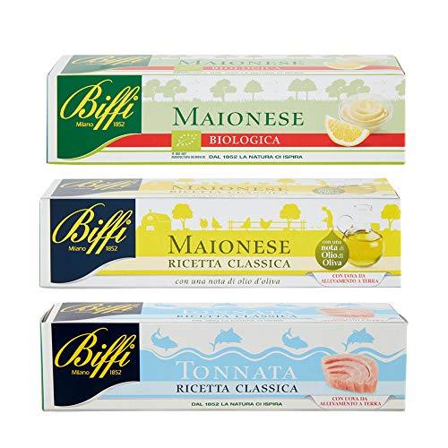 Biffi - Mix Di Salse In Tubetto: Maionese Classica 150ml, Salsa Tonnata 150ml, Maionese Biologica 150ml
