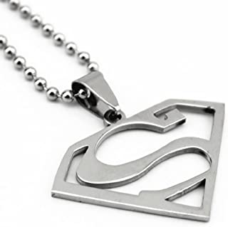 """Superman 316L Surgical Stainless Steel Pendant w// 30/"""" Ball Chain Necklace"""