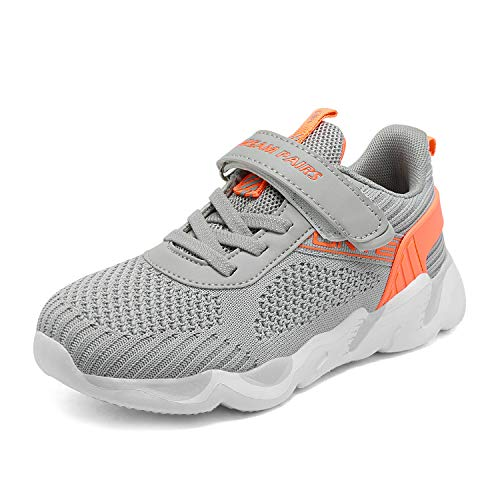 DREAM PAIRS Girls Lightweight Breathable Running Shoes Sports Sneakers Light Grey Coral QSTAR-K Size 12 Little Kid