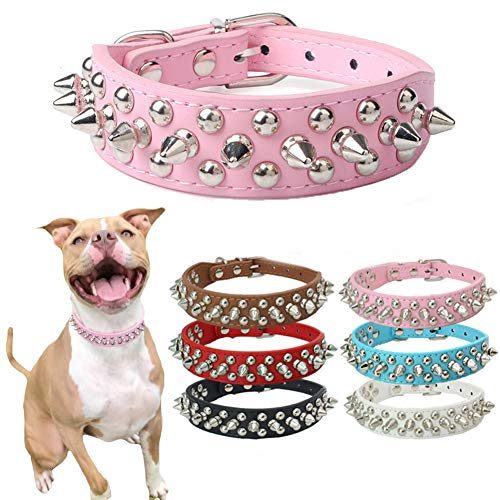 DOGGYZSTYLE Spiked Studded Rivet Leather Dog Collar