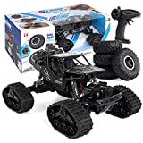 Rc Cars Toys for Kids 1/16 Four-Wheel Drive Alloy Track Off-Road 360°Rotating Stunt Remote Controll Climbing Dual Mode Car LH-C012 (Black)