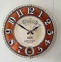 掛け時計 チェルシーラウンドホール振り子時計(中)-ブラウン 壁掛け時計 おしゃれ 掛時計 北欧 時計 インテリア