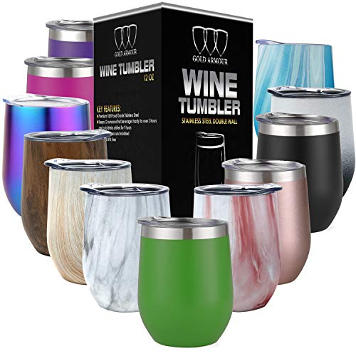 Stainless Steel Stemless Wine Glass Tumbler with Lid, 12 oz | Double Wall Vacuum Insulated Travel Tumbler Cup - Sweat Free, Unbreakable, BPA Free (Green, 12oz)