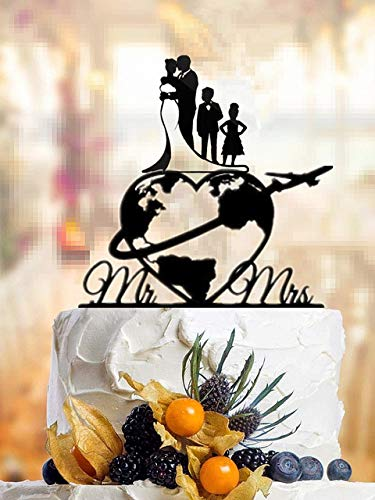 MALAT Travel Themed Family Style Wedding Cake Topper World Map Cake Topper Airplane Cake Topper Map Silhouette Acrylic,style 4