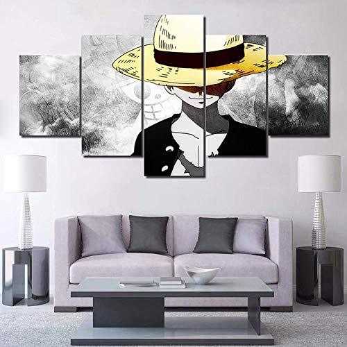 BOYH Impresiones en Lienzo Mural Modular HD 5 Piezas One Piece Luffy Póster Moderno Sala Decorativos para el hogar,B,30×50×2+30×70×2+30×80×1