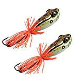 ANGLER DREAM AnglerDream 2PCS/LOT Frog Killer Artificial Frog Fishing Lure VMC 3/0 Double Hook Top Water Floating Pike Bait Fishing Lure 58mm 11.5g