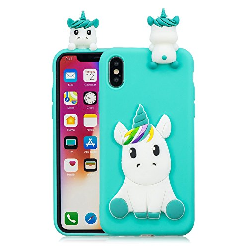 iPhone X Case, iPhone 10 Case, iPhone X Cute Cartoon Case,DAMONDY 3D Cute Unicorn Cartoon Soft Gel Silicone Design Rubber Skin Thin Protective Cover Phone Case for Apple iPhone X iPhone 10-Light blue