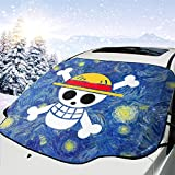 One Piece Luffy Roronoa Zoro Anime Front Car Windshield Snow Cover Folding Auto Sunshade Revent Scratches Waterproof Anti-Uv Anti-Frost Anti-Snow Heat Resistant Winter Suitable Most Vans Suv Truck