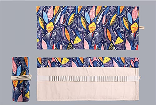 Been Rollo de lápiz hecho a mano, 36 orificios, gran capacidad, estuche para lápices de colores, bocetos, papel de carta (Bunter Fisch)