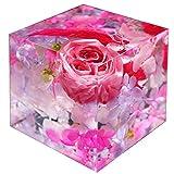 ハーバリウム 固める 固まる クリスタルハーバリウム ピンク フラワーキューブ プリザーブドフラワー フラワーセット アートリウム 誕生日 お礼 お祝い 記念日 プレゼント