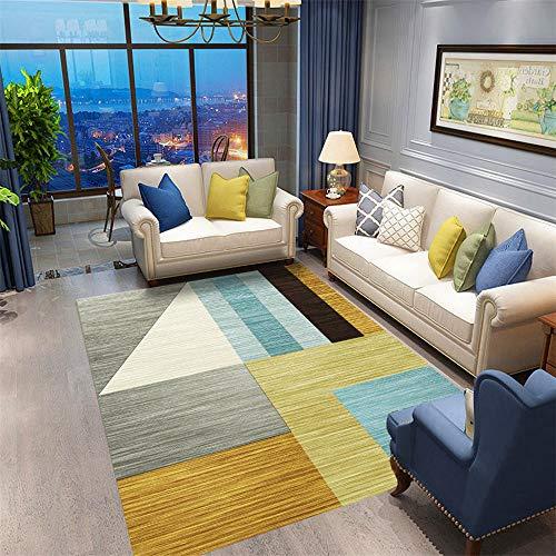 DJHWWD tapijten, aanpasbaar, resistent tegen mijten eetkamer, minimalistisch, antislip salontapijt met strepen- en ruitpatroon, minimalistisch kleed