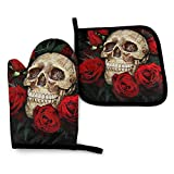 FHTDH Suministros de cocina, guantes de horno y juegos de ollas Cool Skull and Roses Oven Mitts and Pot Holders,Resistant Hot Pads with Polyester Non-Slip BBQ Gloves for Kitchen,Cooking,Baking,Grillin