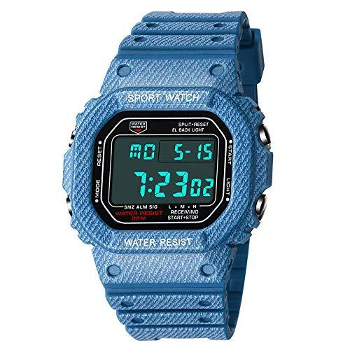 AYDQC Varón y Hembra los Estudiantes Relojes electrónicos Nueva Denim Patrón Impermeable de los Deportes Relojes Relojes de los Pares fengong (Color : Denim Pattern Dark Blue Men)