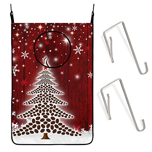 N\A Door Wall Hanging Laundry Hamper Bag, Snowflake Christmas Tree Space Saving Dirty Clothes Bag Oxford Fabric Storage Basket with 4 Hooks for Closet Behind Doors Bathroom Kids Bedroom