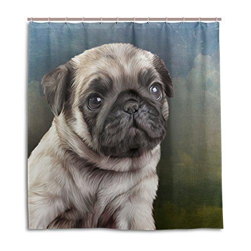 mydaily Zeichnen Mops Hund Vintage Vorhang für die Dusche 177,8x 177,8cm, schimmelresistent & Wasserdicht Polyester Dekoration Badezimmer Vorhang