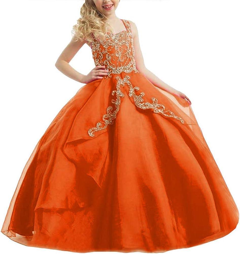 Aiyue Yishen Girl's Shoulder Strap Beaded Pageant Dress Overlay Sleeveless Flower Girls Dress