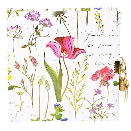 goldbuch Tagebuch, Wildflowers, 96 weiße Seiten, 16,5 x 16,5 cm, Schloss mit 2 Schlüsseln, Kunstdruck mit goldprägung und Relief, Weiß, 44318