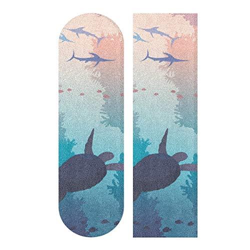 MNSRUU Schildkröte und Schwert Fishe Unterwasser Meer Wildlife Skateboard Grip Tape Sheet Scooter Deck Sandpapier 22,9 x 83,8 cm
