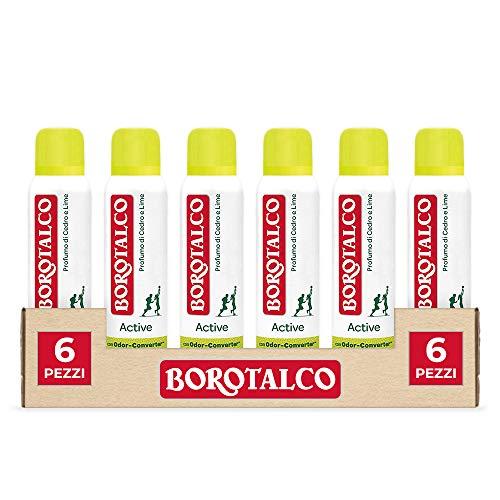Borotalco, Deodorante Spray Active con Odor Converter, Più Sudi e Più Si Attiva, Profumo di Cedro e Lime, Freschezza Continua, Giallo, Deodorante Uomo e Donna - 6 Flaconi da 150 ml