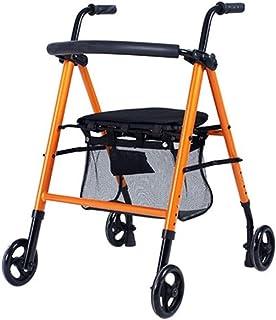 Mobility Aids & Supplies Walker Elderly Shopping Cart Wheelchair Four-wheeled Trolley Seated Folding Walker Adjustable Hei...