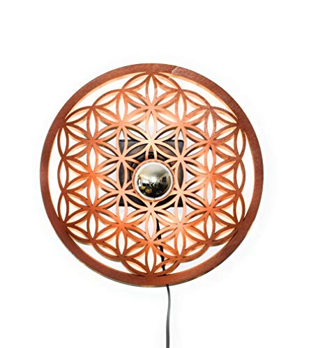 Blume des Lebens | Lampe | Wandbeleuchtung | Holz | Holzlampe | Lichtspiel an der Wand | inkl. kopfverspiegletr LED-Lampe und Kippschalter | Ø 44cm | Licht-/Schattenspiel |