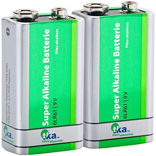 tka Köbele Akkutechnik Blockbatterie: Superlife 9V-Block Alkaline-Batterie, 2er Set (9 Volt Blockbatterie)