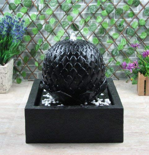 Wehmann Solarbrunnen Lotus Solarspringbrunnen mit Memoryfunktion Garten Brunnen Komplettset für Garten, Zengarten und Terrasse Tag und Nacht !!!