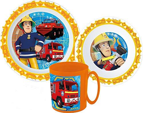 Sam el bombero - Vajilla infantil con plato, cuenco para cereales y vaso