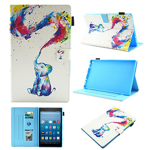 Uliking for Amazon Kindle Fire HD 8 2018 2017 2016 Tablet Case 8th 7th 6th Generation with Pencil Holder Card Slots,Stand Smart PU Leather Magnetic TPU Back Wallet [Auto Wake Sleep], Rainbow Elephant