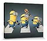 1art1 Minions - Stuart, Kevin Y Bob, Abbey Road Cuadro, Lienzo Montado sobre Bastidor (50 x 40cm)