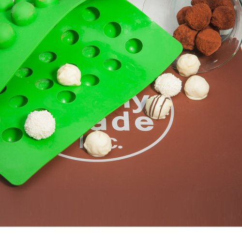 Truffly Made. Classic European Round Chocolate Truffle, Jelly and Candy Mold, 54 cavities, One step candy pop-out
