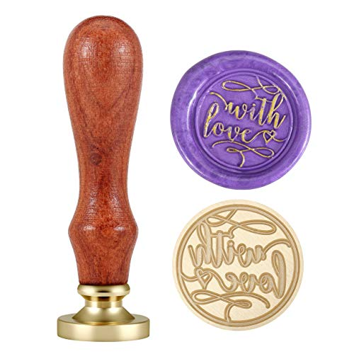Wax Seal Stamp, Yoption Vintage Romantic Thank You Brass Head Wooden Handle Removable Sealing Stamp (with Love 2)