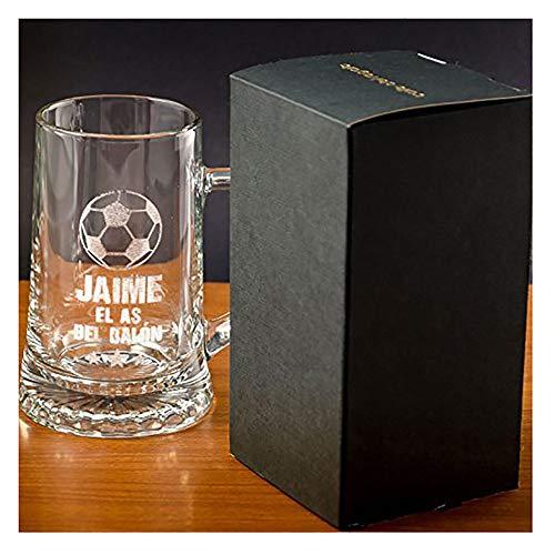 Regalo Divertido para Hombre: Jarra de Cerveza El as del balón Personalizada, un Regalo para Amantes de la Cerveza y el fútbol