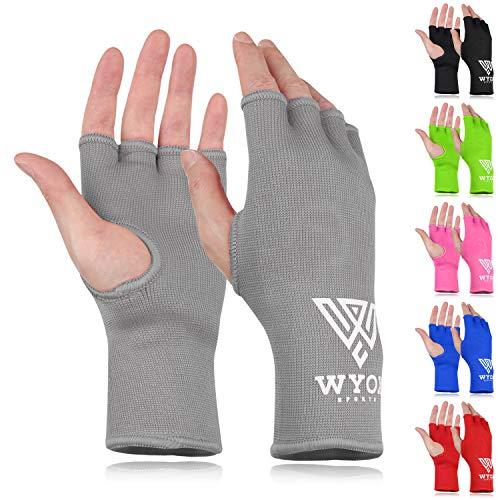WYOX Boxing Hand Wraps MMA Gloves Men Women Punching Mitts Boxing Wraps Boxing Gear Kickboxing Wraps Compression (L/XL (22-26cm), Grey)