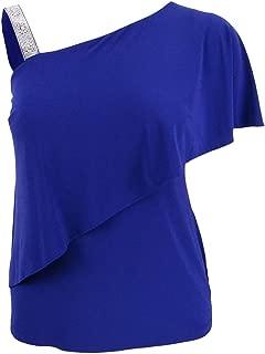 MSK Women's Petite Embellished-Strap Asymmetrical Top