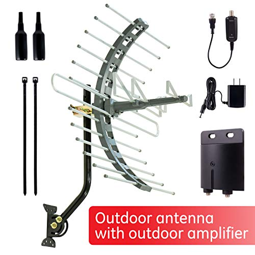 GE Pro Outdoor TV Antenna + Outdoor Antenna Amplifier, Long Range Antenna, Attic Mount, Hardware Included, Digital HDTV 4K 1080P VHF UHF, Low Noise Signal Booster