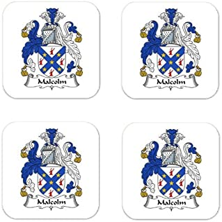 Malcolm Or Maccallum Family Crest Square Coasters Coat of Arms Coasters - Set of 4