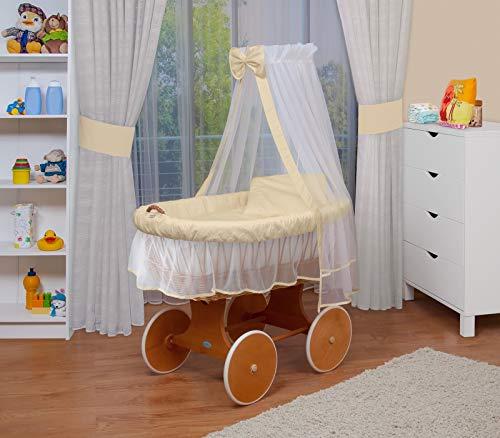 WALDIN Baby Stubenwagen-Set mit Ausstattung,XXL,Bollerwagen,komplett,24 Modelle wählbar,Gestell/Räder lackiert,Stoffe beige/gelb/weiß
