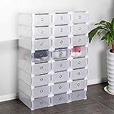 COMOTS Schuhbox, 24 Stück, transparent, Kunststoff, Schuhaufbewahrung, stapelbar, Schuhbox, Organizer für Damen/Herren (30 x 20 x 11 cm)