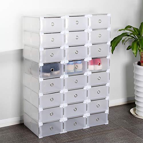 HOBFU Schuhkarton 24 Stück Schuhbox Transparent Stapelbox Faltbar Schuhaufbewahrung mit Deckel für Frauen/Männer (31x20x11 cm)