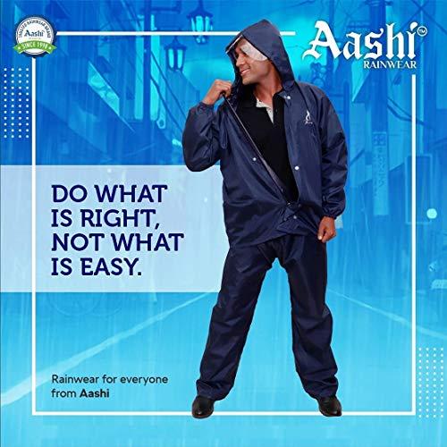 Aashi Rainwear 100% Polyester Material Mens and Womens Raincoat Rain Jacket with Pant,100% Waterproof Rainwear Navy...