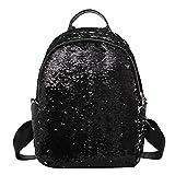 Zibuyu Glitter Sequins Women Party Shoulder Handbags Girl Travel Backpacks (Black)