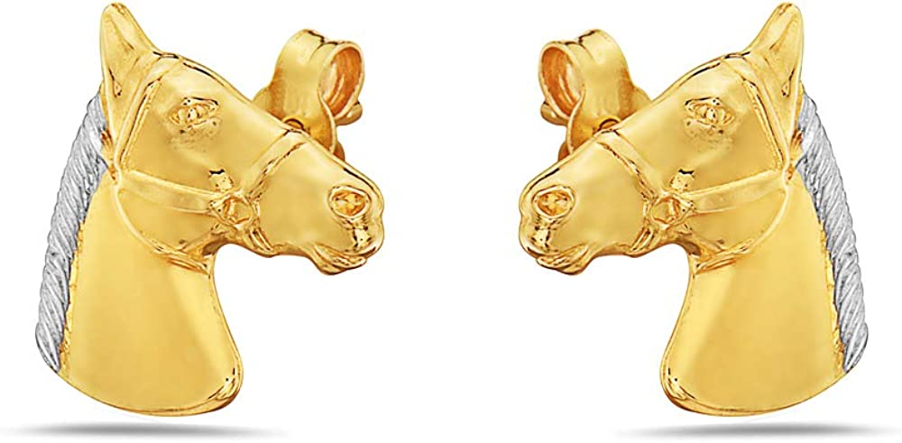 10K Two Tone Gold Horse Stud Earrings with Butterfly Backings For Women