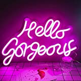 DIVATLA Hello Gorgeous Neon Sign for Wall, Bedroom, Home, Office Decor,Neon Wall Sign for Holiday, Party, Weeding.Pink Neon Sign Gifts for Girlfriend, Wife, Parents.