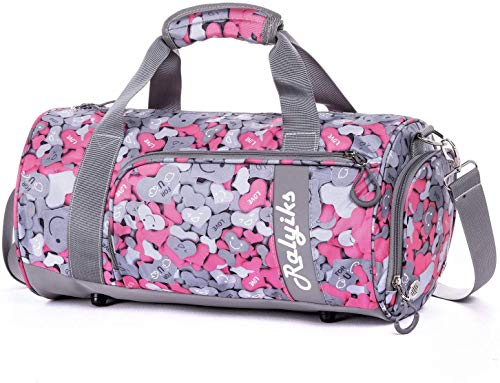 Waterproof Sports Gym Bag with Shoes Compartment Travel Duffel Bag (Puzzle Magenta, Small)